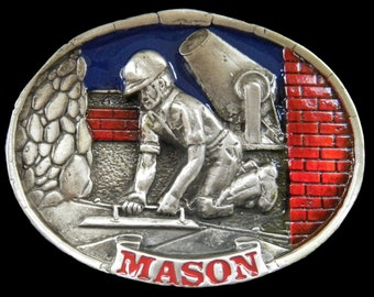 Mason Cement, Brick Layer Worker Tools Pewter Profession Belt Buckle