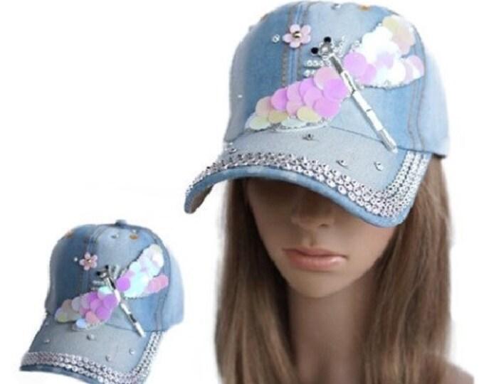 Women's Crystal Bling Over-Sized Dragonfly Cadet Cap Denim Baseball Hat