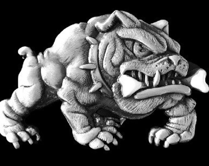 English Bulldog With Bone Animal Dog Belt Buckle
