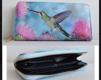 Women Hummingbird And Leaves Leather Wallet Large Capacity Zipper Travel Wristlet Bags Clutch Cellphone Bag