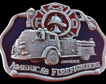 FD American Fire Fighters With Fire Truck Belt Buckle