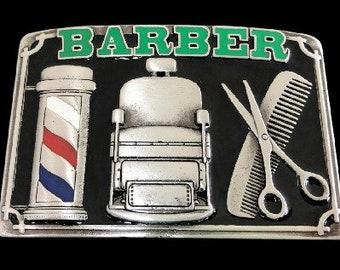 Barber Shop Hair Haircut Style Barber's Scissors Pole Belt Buckle