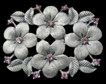 Flowers Floral Pink Rhinestones Vintage Fashion Belt Buckle Buckles