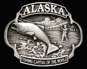 Alaska Fishing Fish Fisherman Capital World Belt Buckle Buckles