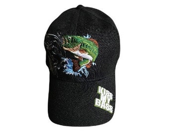 Kiss My Bass Fish Fisherman Fishermen Baseball Cap Hat