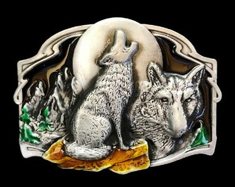 Howling Wolf Grey Lone Wild Grey  Wolves Full Moon Wild Animal Belt Buckle Buckles
