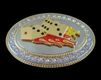 Rhinestone Oval Gambling Dice Craps Casino Vegas Cool Belt Buckle