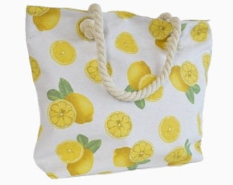 Large Capacity Zipper Handbag Shopping Travel Tote Shoulder Beach Bag Lemons