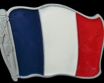 France Francais French Paris Drapeau Flag Belt Buckle