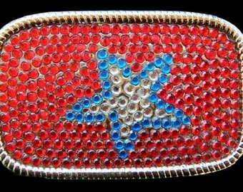 Red Rhinestones Super Star Western Belt Buckle