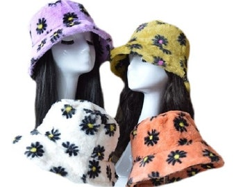 Faux Fur Women's Funky Colorful Winter Floral Bucket Hats Thick Warm Outdoor