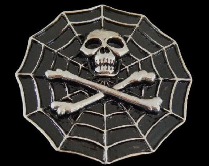 Skull Cross Bones Skeleton Head Spider Web Belt Buckle