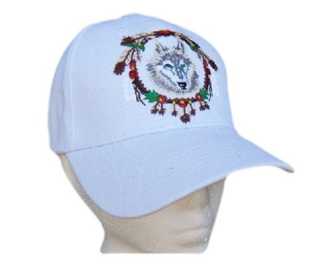 White Hat Baseball Cap Wild Wolf Animal Feathers Native Indian Chapeau Casquette