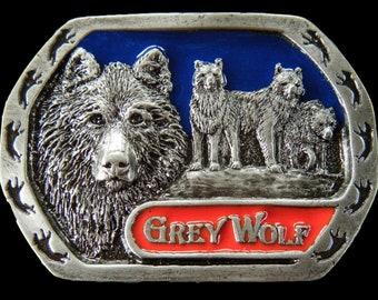 Grey Wolf Lone Wolves Wild Animal Pewter Belt Buckle Buckles