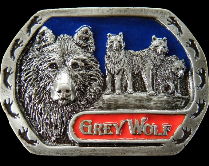Grey Wolf Lone Wolves Wild Animal Pewter Belt Buckle Buckles