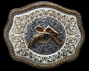 Western Cowboy Cowgirl Gun Hat Rodeo Golden Belt Buckle