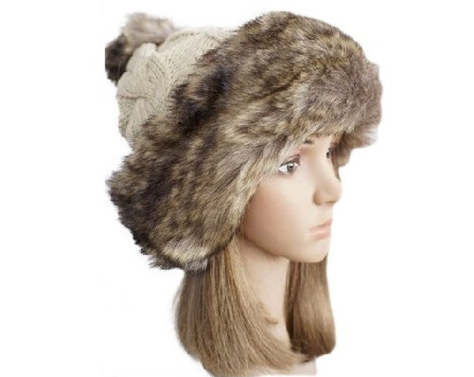 New Women Winter Warm Elegant Faux Fur Knit thick Hat PomPom Ski Fashion