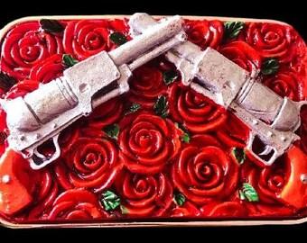 Revolver Gun Rose Belt Buckle Magnum Revolvers Handguns Guns Roses Buckles & Belts