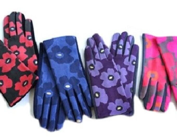 Women Winter Warm Fashion Gloves With Flowers
