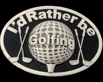 I'D Rather Be Golfing Golfer Golf Balls Sports Belt Buckle Belts Buckles