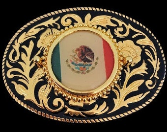 Mexico Country Flag Belt Buckle Latin Nation Western Style Buckles