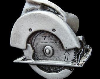 Circle Saw Construction Worker Carpenter Profession Belt Buckle