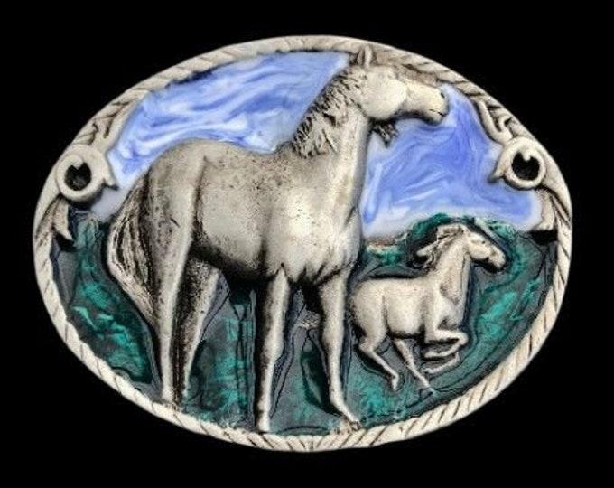 Detailed Blue Sky Horse Horses Belt Buckle