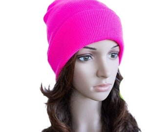 Pink Neon Beanie Cap Plain Knit Ski Hat Cuff Winter Solid Warm Men Women