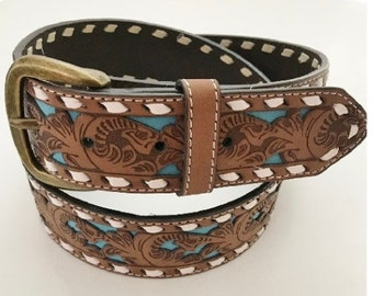 Western Snap-On Belt Women's Turquoise Inlay Brown