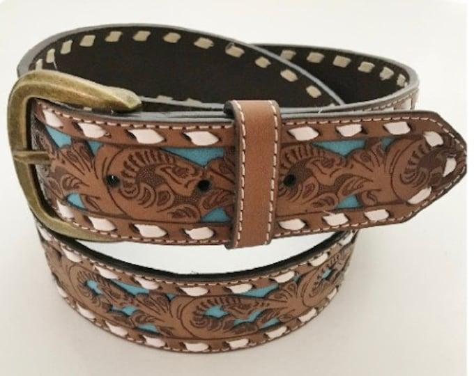 Western Belt Women's Turquoise Inlay Brown