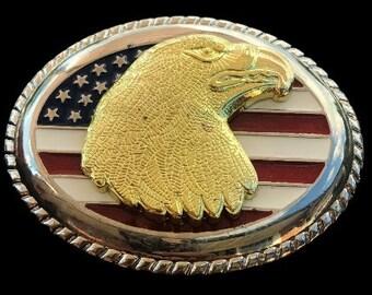 Golden Head Bald American Eagle USA United States Flag Belt Buckle