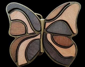 Butterfly Wood Belt Buckle Wooden Butterflies Metal Contour Animal Belt Buckles