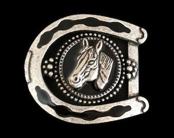 Horseshoe Black Horse Horseshoes Cowboy Cowgirl Western Belt Buckle Buckles