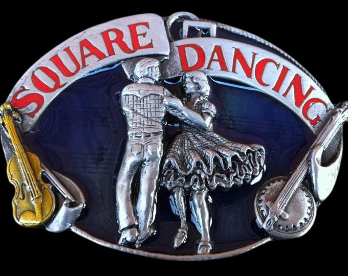 Square Dancing Vintage Western Violin Music Belt Buckle Buckles