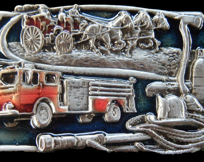 Fire Truck And Horses With Firemen Tools Belt Buckle
