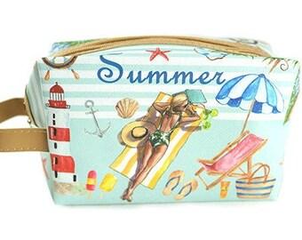 Women's Summer Makeup Zipper Pouch Purse Pen Pencil Case Travel Cosmetic Bag Storage