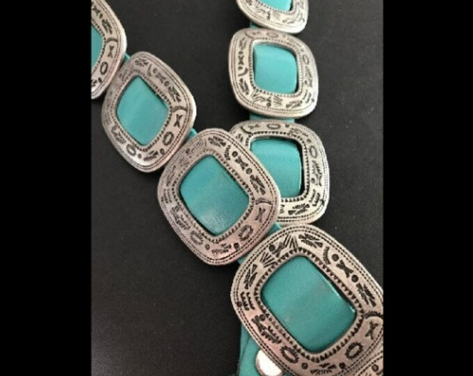 Western Women's Belt Leather Turquoise Stones With Conchos