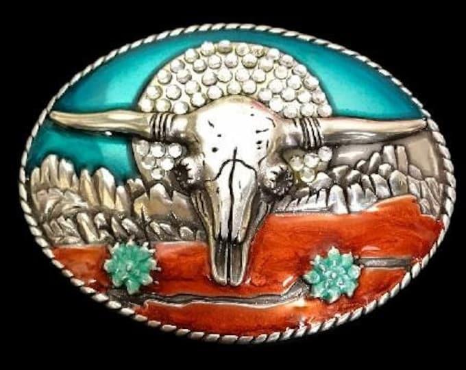 Longhorn Western Cow Animal Metal Belt Buckle