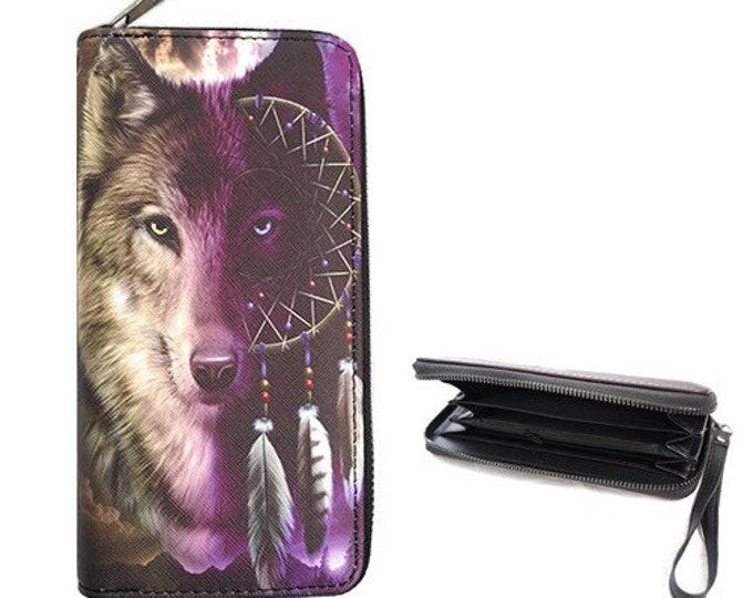 Wolf Wolves Dreamcatcher  Fashion Women's Zipper Clutch Wallet