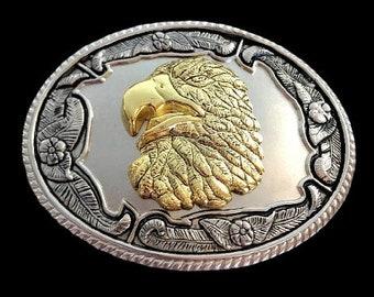 Eagle Belt Buckle Golden Eagles Heads Western Belts & Buckles