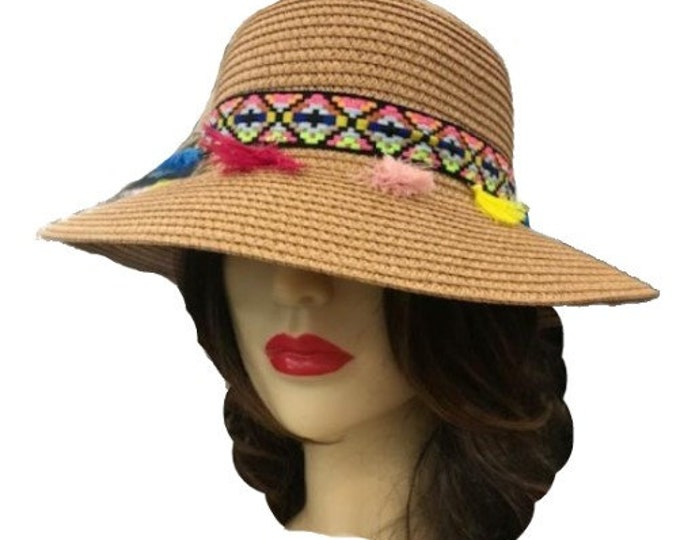 Straw Wide Brim Fedora Summer Hat with Colored Tassel Band