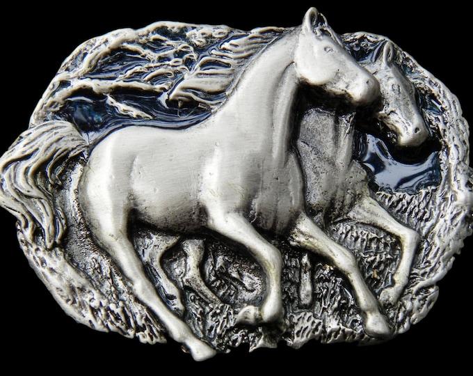 Two Horses Equestrian Sports Belt Buckle