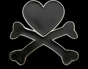 Heart Crossbones Belt Buckle Skull Cross Bones Evil Black Hearts Belts and Buckles