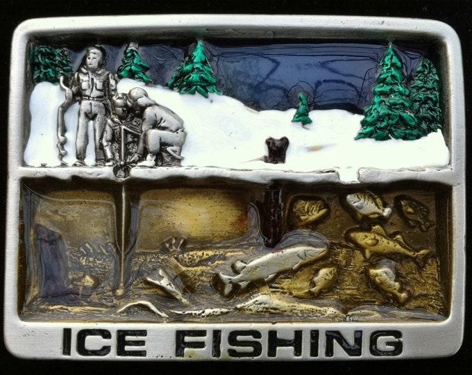 Ice Fishing Frozen Lake River 3D Fish Bait Belt Buckle