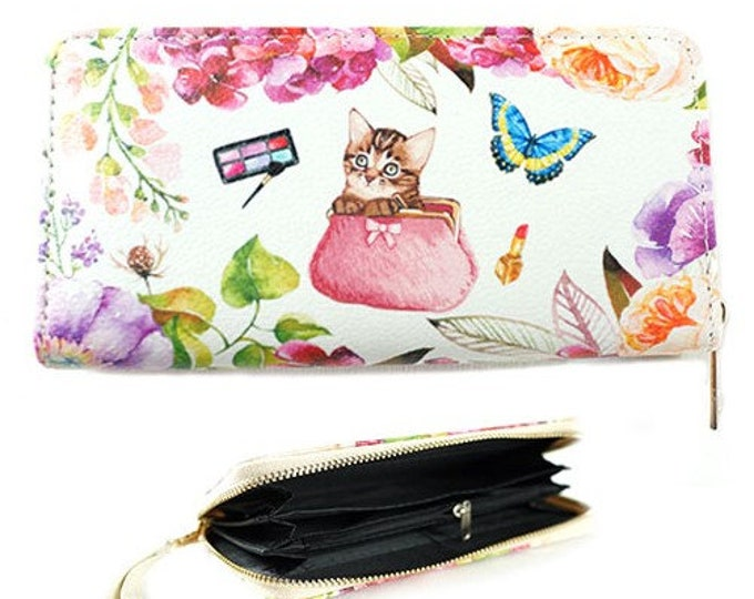 Kitty Cat Kitten Fashion Women's Zipper Clutch Wallet