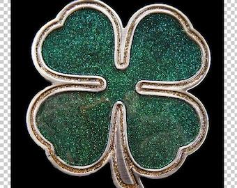 Irish Mens Womens Belt Buckle Shamrock Leaf RUB FOR LUCK Clover St Patrick Day
