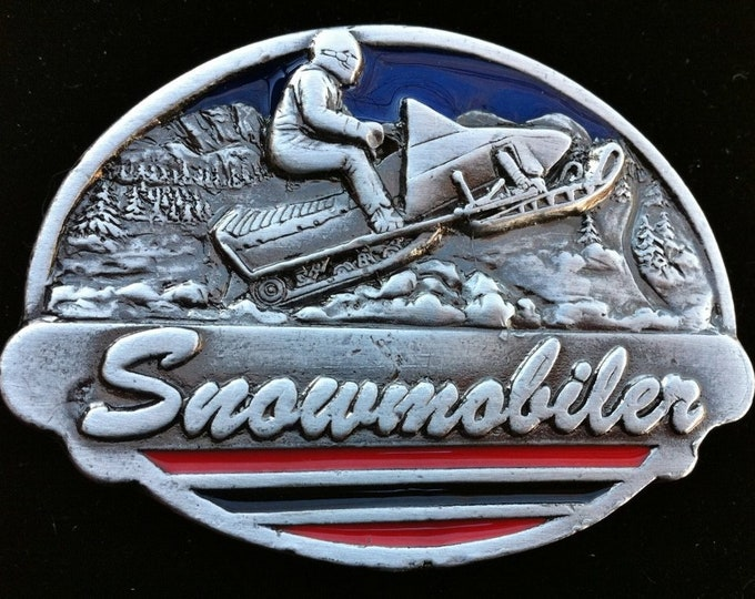 Snowmobile Snowmobiler Belt Buckle Snow Machines Trails Signs Belts & Buckles