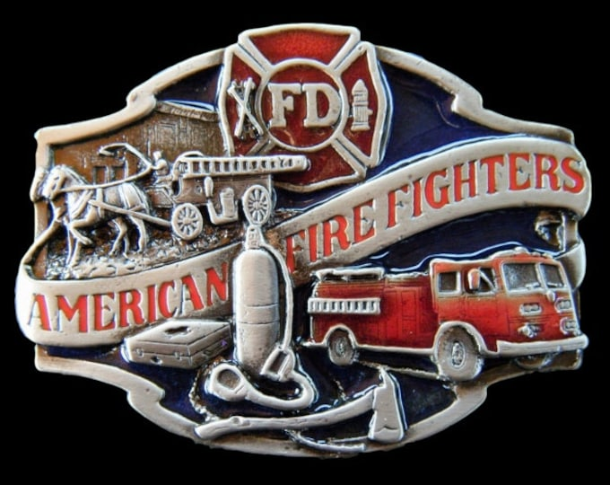 Belt Buckle American Firefighter FD Horse Fire Truck Belts Buckles