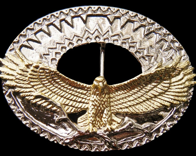 Golden Eagle With Wings Spread Western Chrome Belt Buckle
