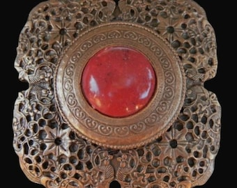Bronze Colored Flower Red Center Stone Classy Belt Buckle Buckles